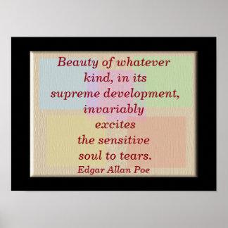 Belleza - impresión del arte - cita de Edgar Allan Póster