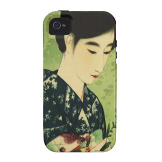 Belleza japonesa con la caja azul del iPhone 4 de  Case-Mate iPhone 4 Funda