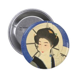 Belleza japonesa en el Bathouse Pin Redondo De 2 Pulgadas