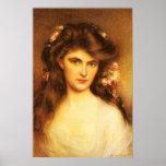 Belleza joven con las flores en su pelo poster