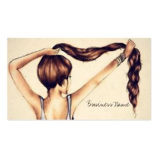 Belleza larga del pelo plantillas de tarjetas personales