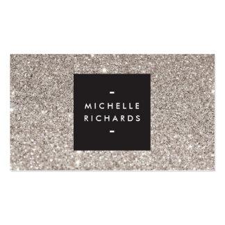 Belleza moderna del brillo de plata atractivo plantilla de tarjeta de negocio