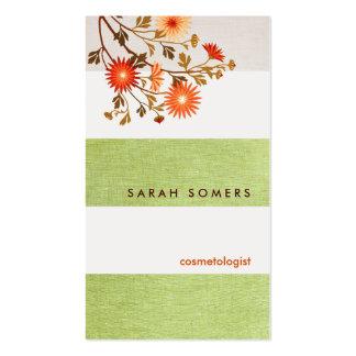 Belleza natural de lino rayada del verde de la tarjetas de visita