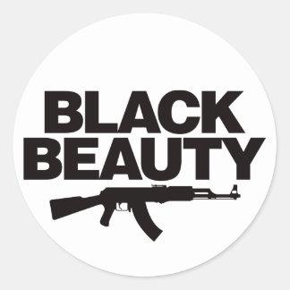 Belleza negra AK - negro Pegatina Redonda