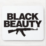 Belleza negra AK - negro Tapetes De Raton