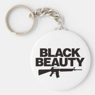 Belleza negra AR - negro Llavero Redondo Tipo Pin