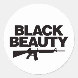 Belleza negra AR - negro Pegatina Redonda