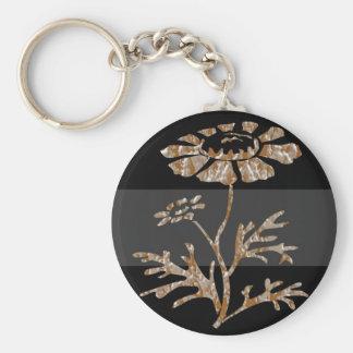 Belleza negra floral grabada plata del oro n llavero redondo tipo pin