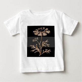 Belleza negra floral grabada plata del oro n playera de bebé