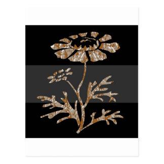 Belleza negra floral grabada plata del oro n postal