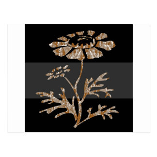Belleza negra floral grabada plata del oro n tarjetas postales