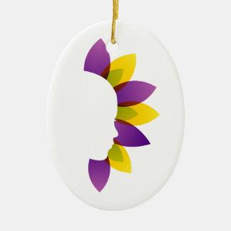 Belleza orgánica adorno ovalado de cerámica