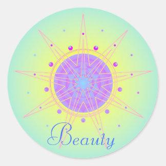 Belleza (pegatina de la virtud) pegatina redonda