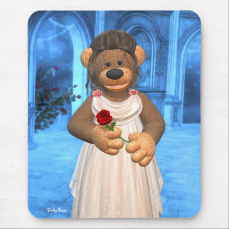 Belleza pequeña de los osos con 2 color de rosa alfombrilla de ratón