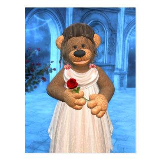 Belleza pequeña de los osos con 2 color de rosa tarjeta postal