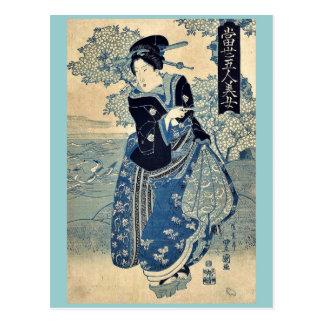 Belleza que sostiene un tubo por Utagawa, Toyokuni Tarjetas Postales