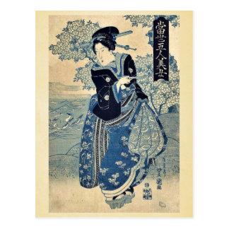 Belleza que sostiene un tubo por Utagawa, Toyokuni Tarjeta Postal