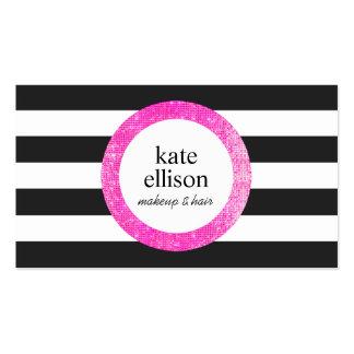 Belleza rayada blanco y negro de la falsa tarjetas de visita