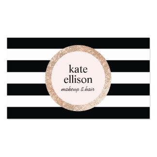 Belleza rayada blanco y negro de la lentejuela de tarjetas de visita
