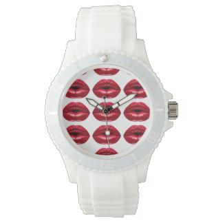 Belleza roja caliente de los labios reloj de mano