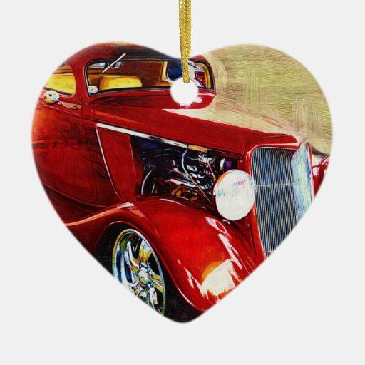 Belleza roja - el coche del colector clásico adorno navideño de cerámica en forma de corazón