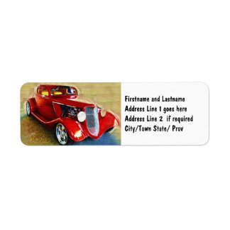 Belleza roja - el coche del colector clásico etiqueta de remitente