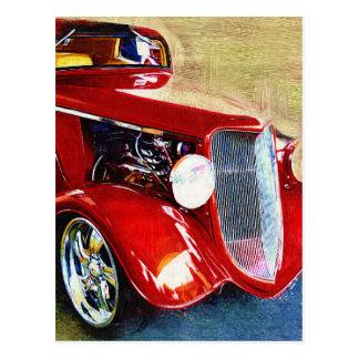 Belleza roja - el coche del colector clásico tarjetas postales