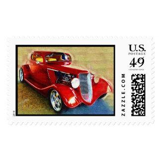 Belleza roja - el coche del colector clásico timbres postales