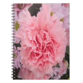 Belleza rosada del clavel del cuaderno