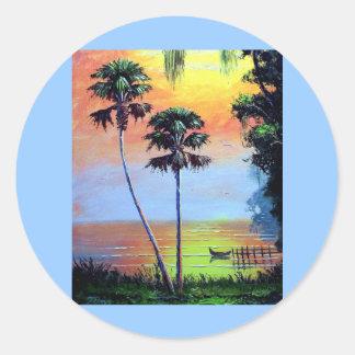 Belleza tropical del lago pegatina redonda