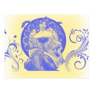 Belleza verdadera en azul postales
