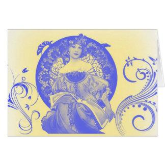 Belleza verdadera en azul tarjeta de felicitación