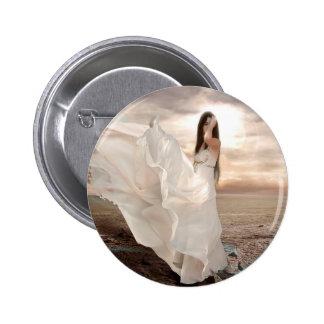 Belleza vestida blanco abstracto del ángel pin