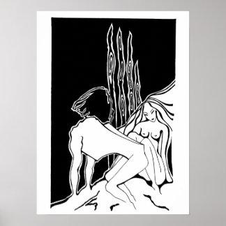 Belleza y el dibujo original de la bestia póster