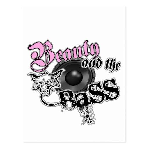Belleza y el logotipo bajo bajo de la música de lo tarjeta postal