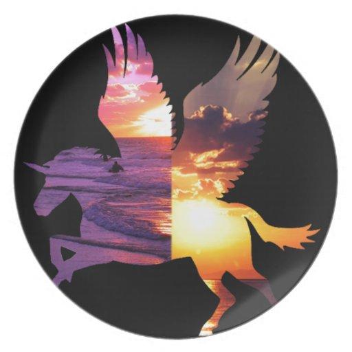 Belleza y el unicornio platos de comidas
