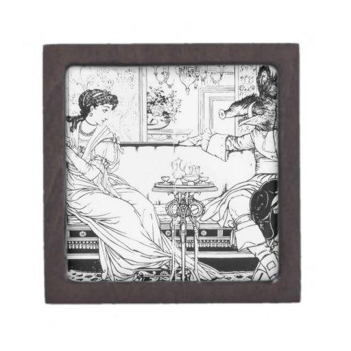 Belleza y la bestia, 1874 (litho) (foto de b/w) cajas de regalo de calidad