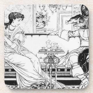 Belleza y la bestia, 1874 (litho) (foto de b/w) posavasos de bebidas
