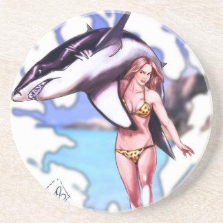 Belleza y ondas de la persona que practica surf la posavasos personalizados