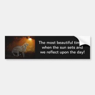 Belleza y puesta del sol del guepardo pegatina de parachoque