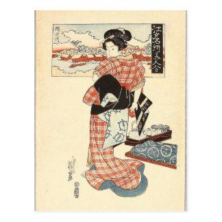 Belleza y río de Sumida - Edo Meisho Bijin Awase Postal