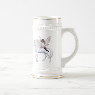 Bellezas 2 del unicornio del ángel jarra de cerveza
