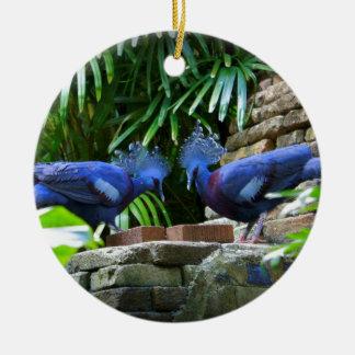 Bellezas azules adorno navideño redondo de cerámica