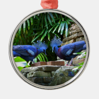 Bellezas azules adorno navideño redondo de metal