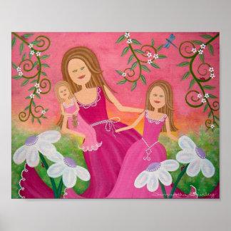 Bellezas del jardín - arte de los chicas de los ni póster