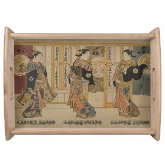 Bellezas japonesas del arte 3 que sirven la bandejas