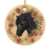 Bellflower Black Horse Ceramic Ornament
