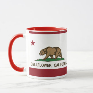 Bellflower de la bandera del estado de California Taza