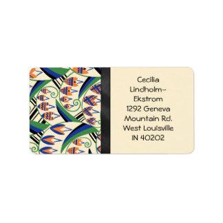 BELLFLOWER en colores originales del art déco Etiquetas De Dirección