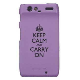 Bellflower Keep Calm And Carry On Droid RAZR Covers
